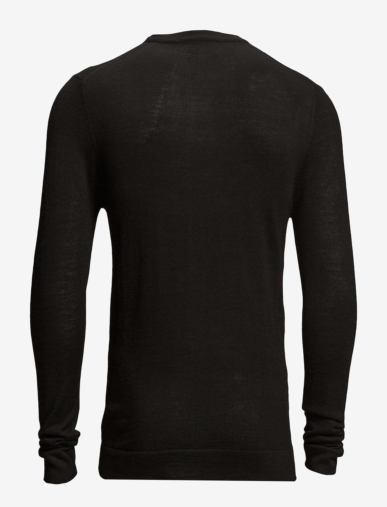 Lindbergh - Merino knit o-neck - perusneuleet - black - 1