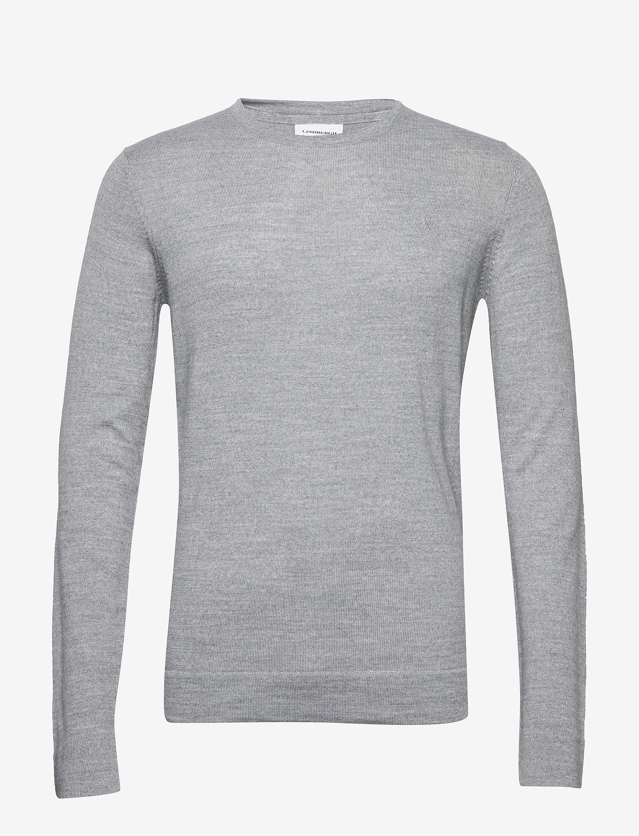 Lindbergh - Merino knit o-neck - perusneuleet - lt grey mix - 0