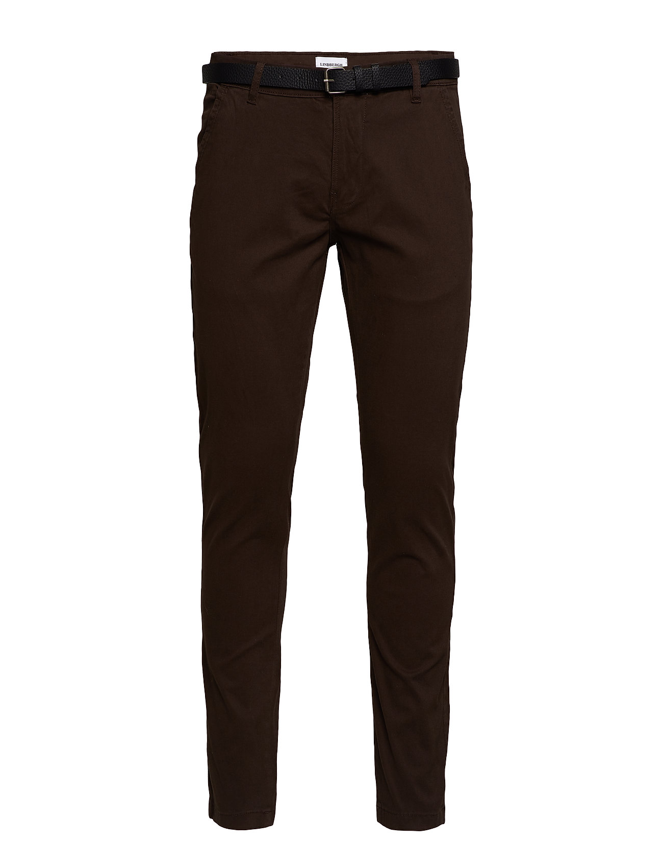 Lindbergh Classic stretch chino W. belt - DK BROWN