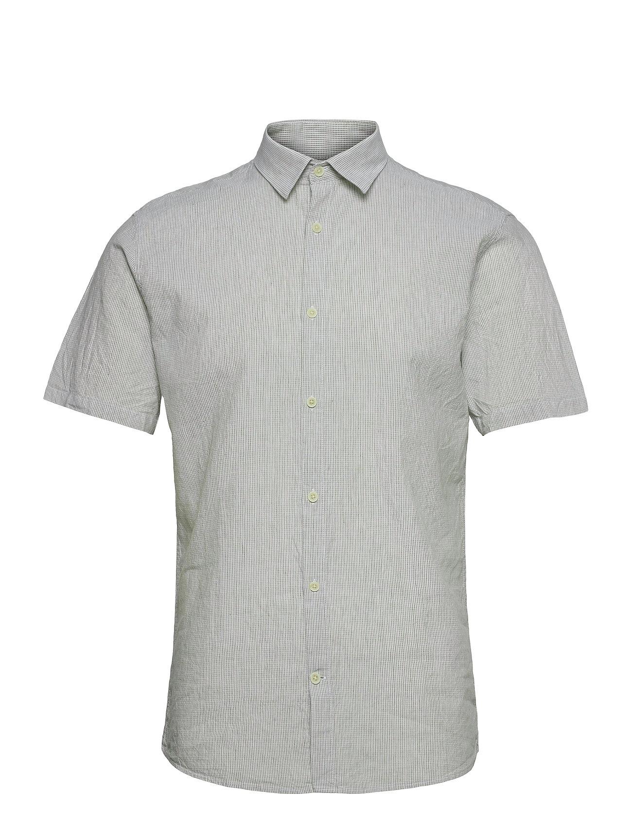 Linen Shirt S/S Kortærmet Skjorte Grå Lindbergh