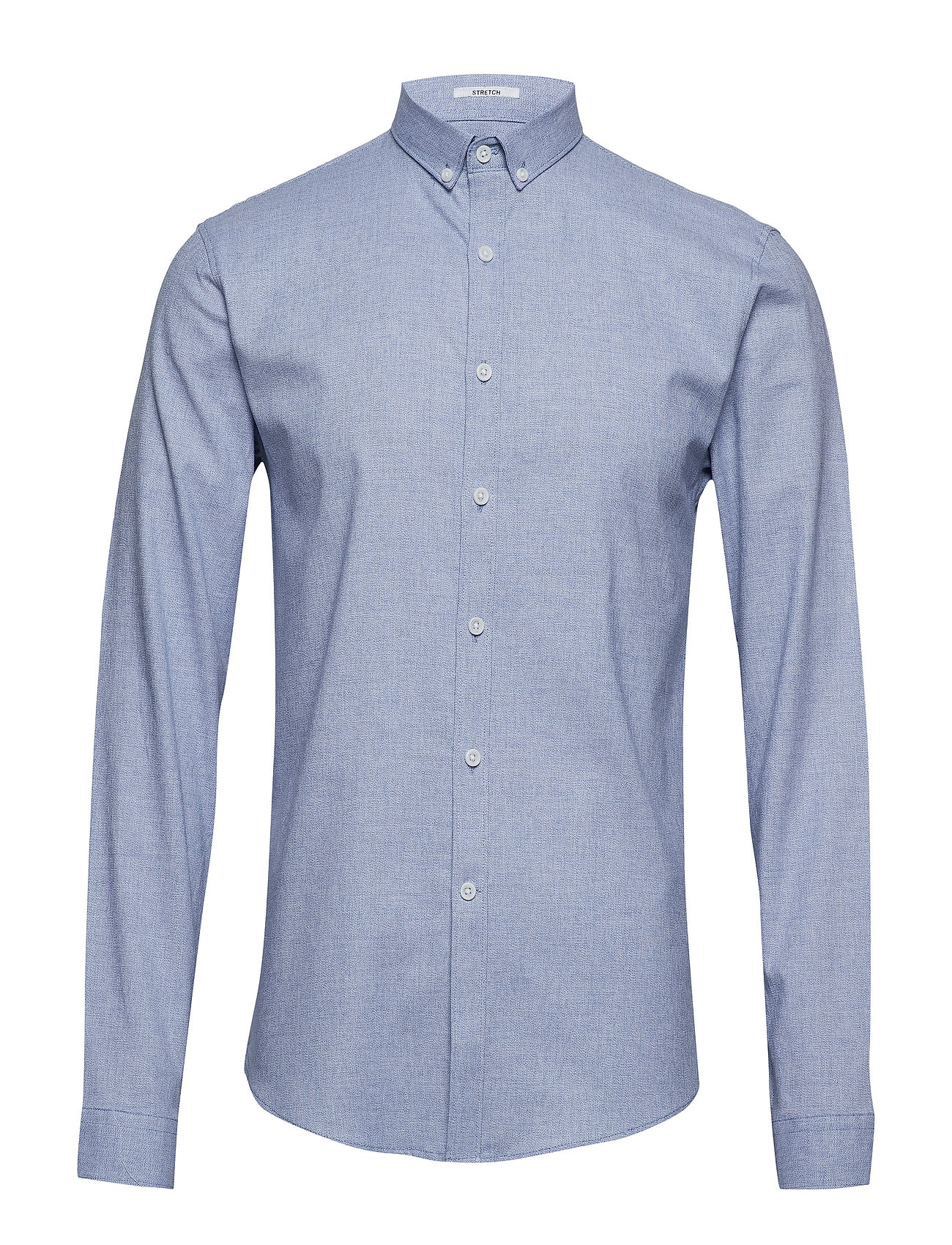 Lindbergh Mouliné stretch shirt L/S - LT BLUE