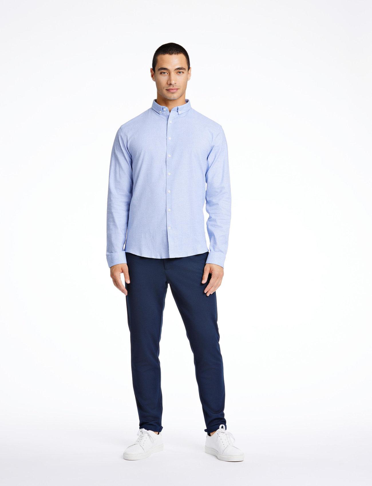 Lindbergh - Mouliné stretch shirt L/S - peruspaitoja - lt blue - 0