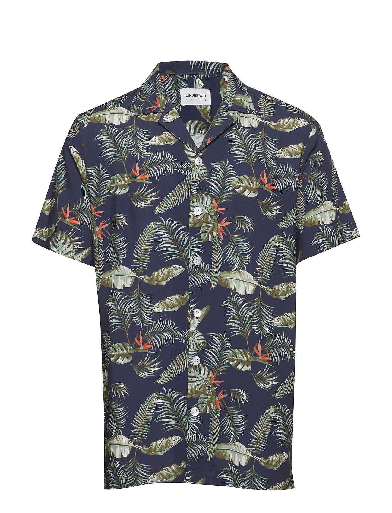 Lindbergh Resort printed shirt S/S - DARK BLUE