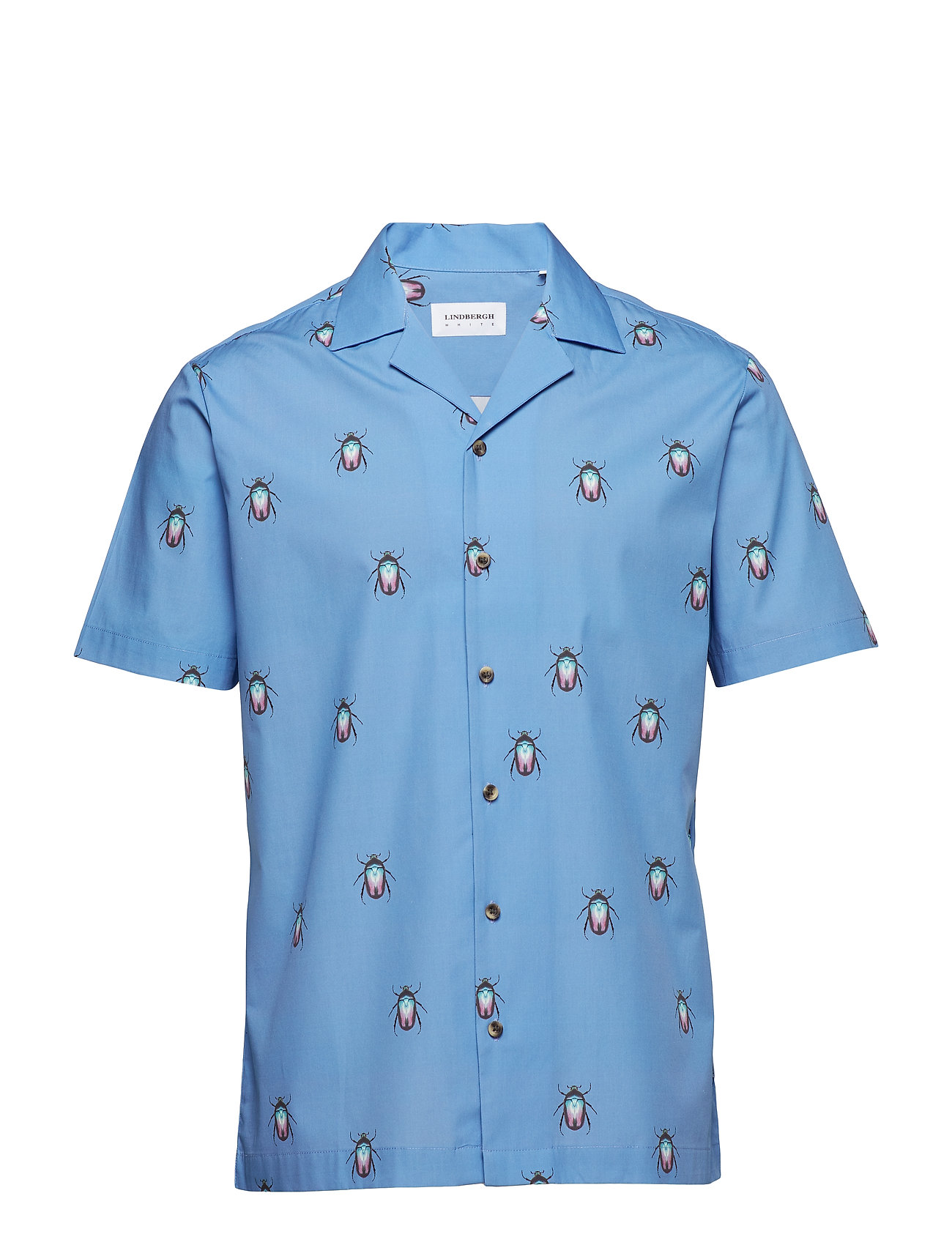 Lindbergh Printed resort shirt S/S - BLUE