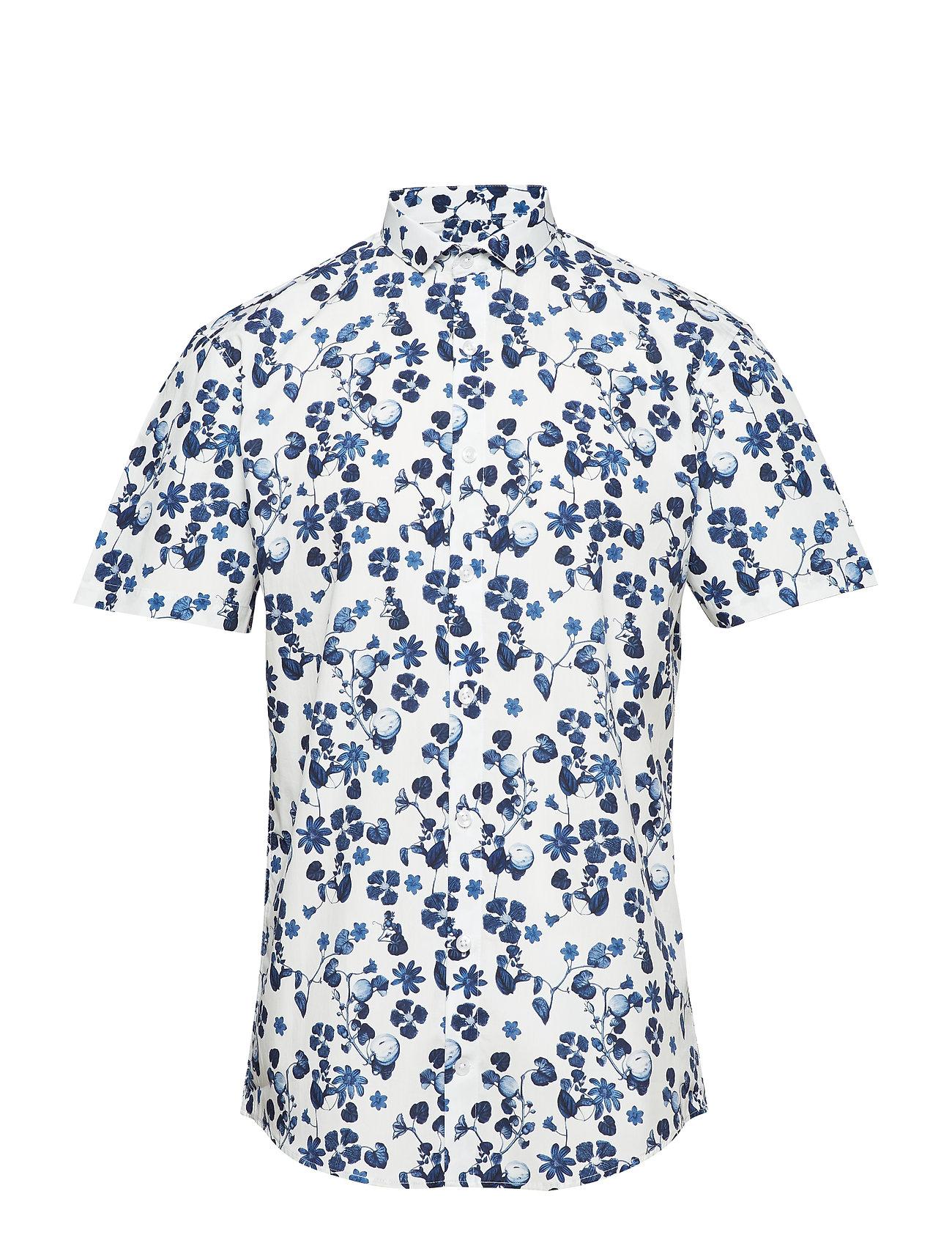 Lindbergh Printed shirt S/S - DARK BLUE