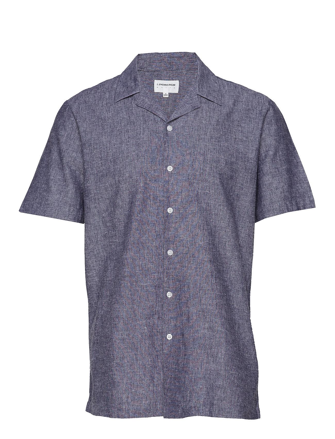 Lindbergh Linen cotton resort shirt S/S - DARK BLUE