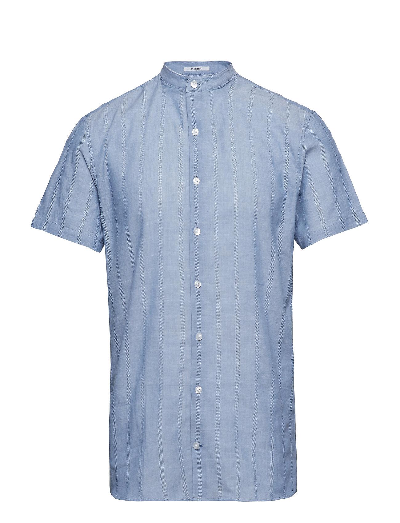 Lindbergh Structure mandarin shirt S/S - BLUE