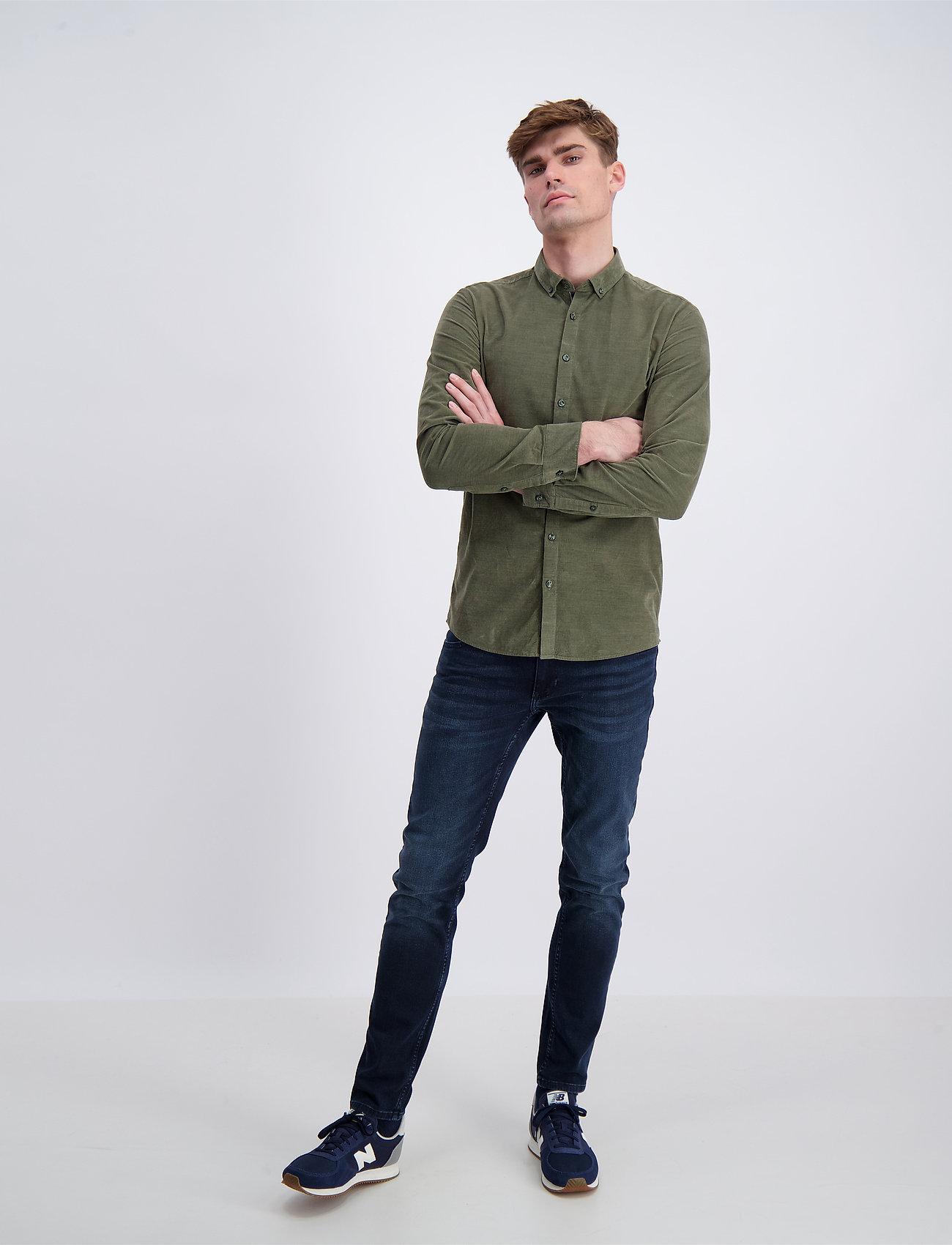 Lindbergh - L/S corduroy shirt - peruspaitoja - army - 0