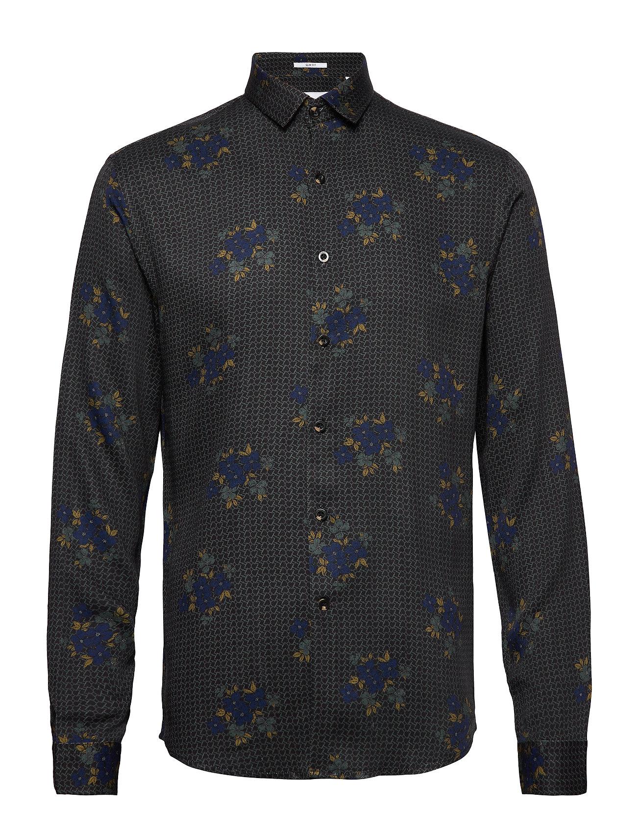 Lindbergh Floral viscose print shirt L/S - BROWN