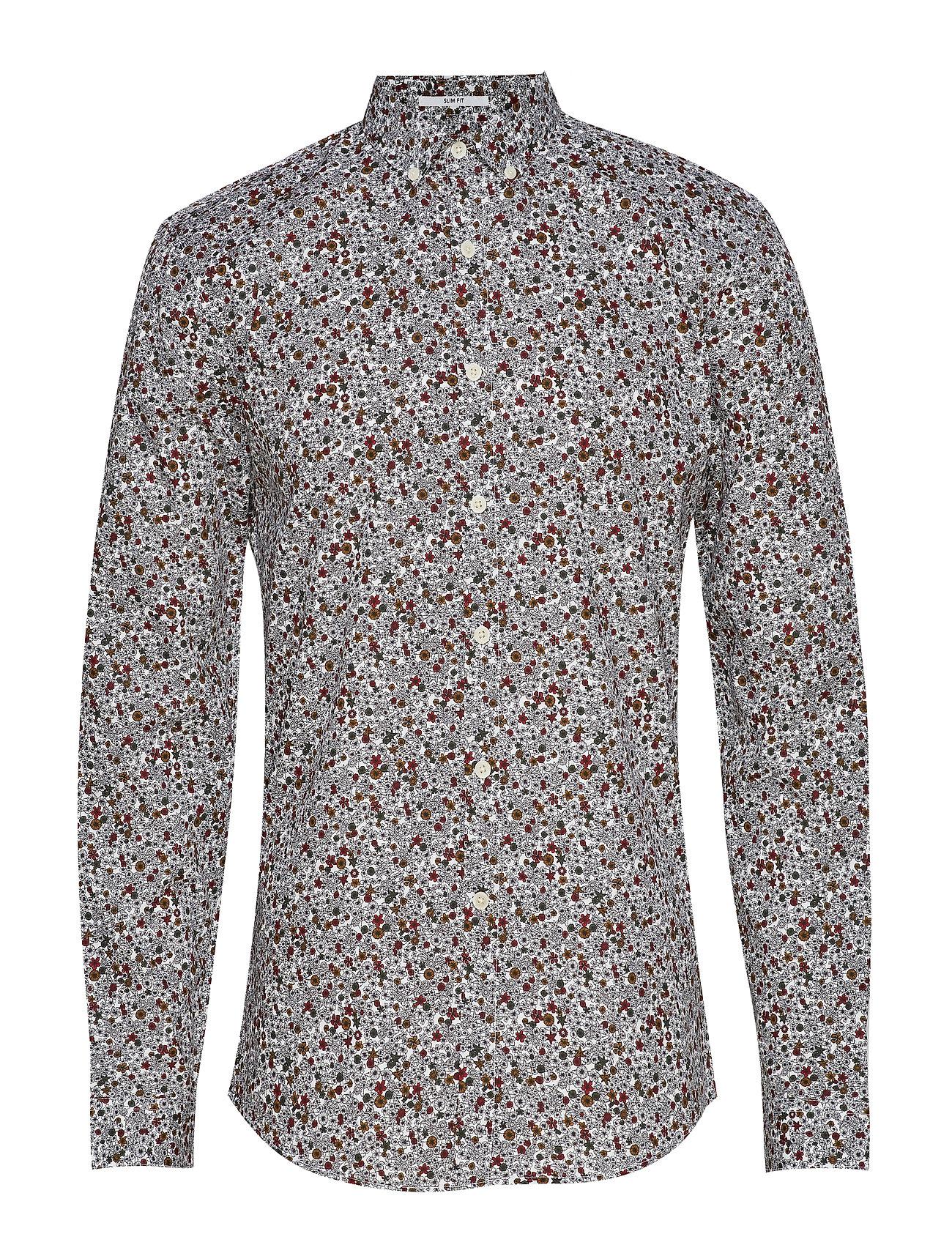 Lindbergh Ditsy floral print shirt L/S - WHITE