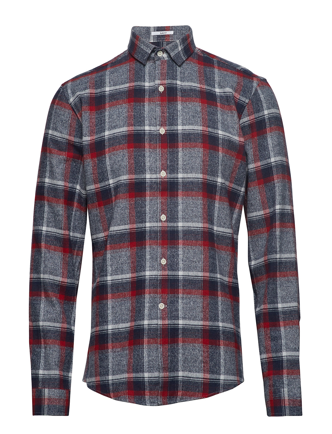 Lindbergh Checked flannel shirt L/S - DK RED