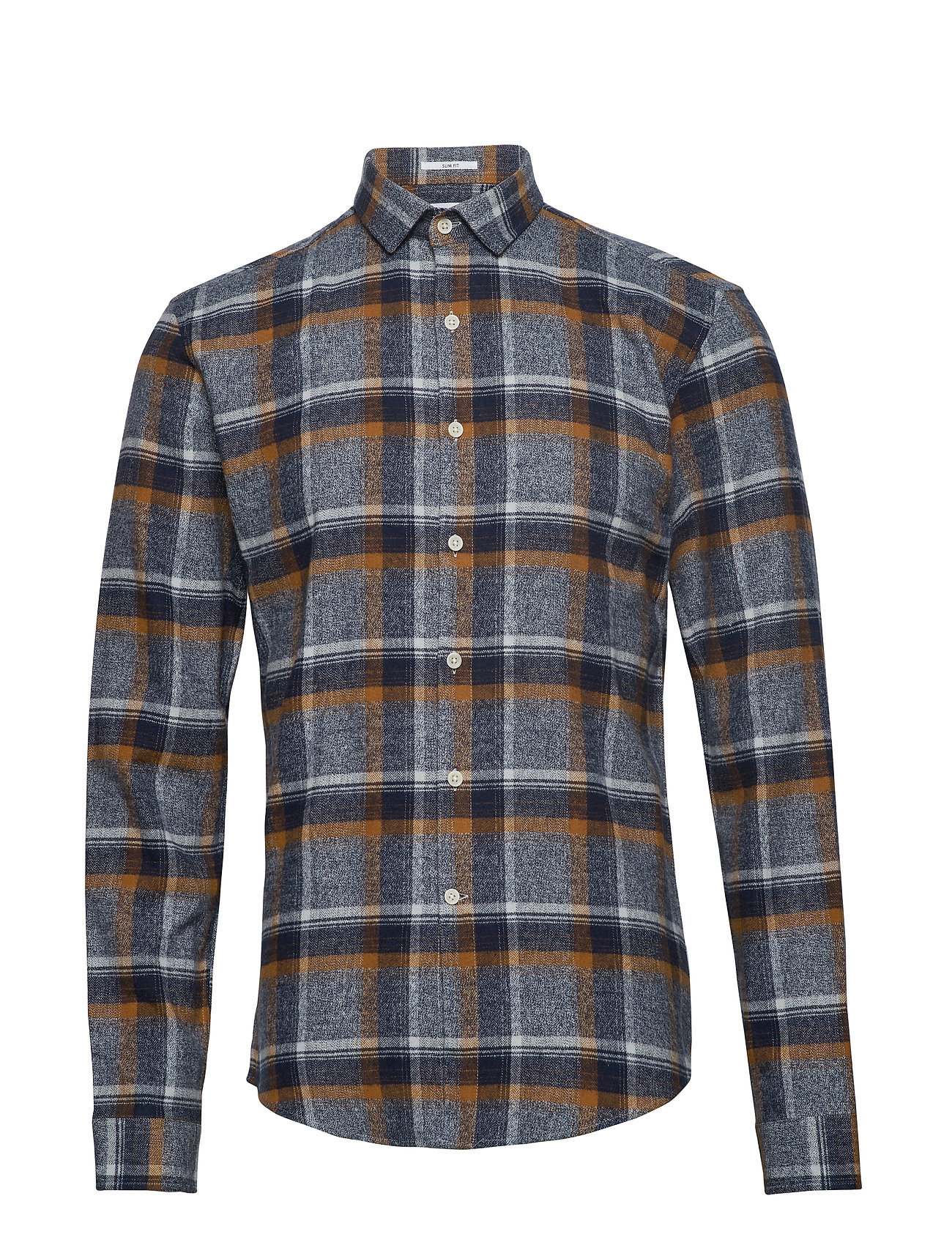 Lindbergh Checked flannel shirt L/S - LT BROWN