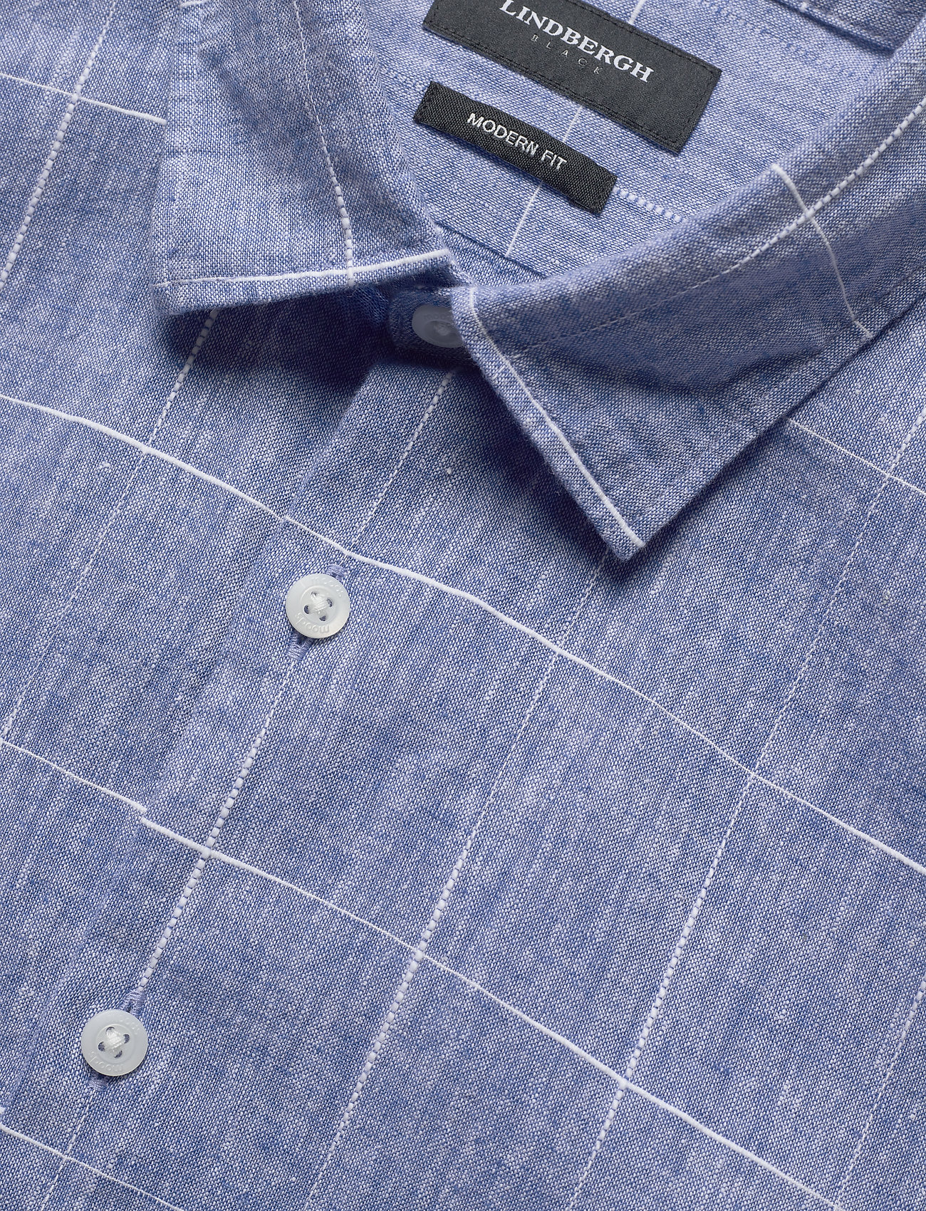 Lindbergh Checked Structure Shirt S/s - Skjortor Light Blue