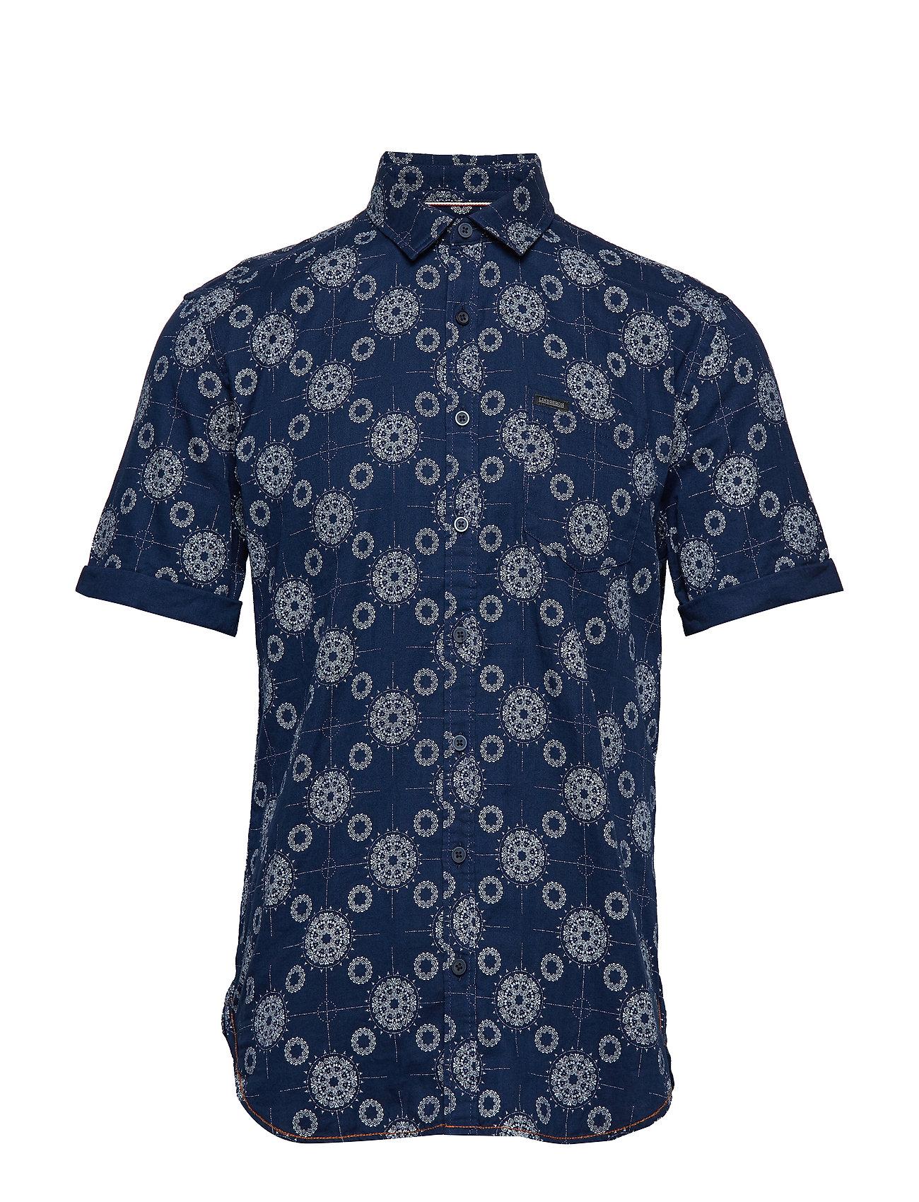 Lindbergh Printed S/S shirt - INDIGO
