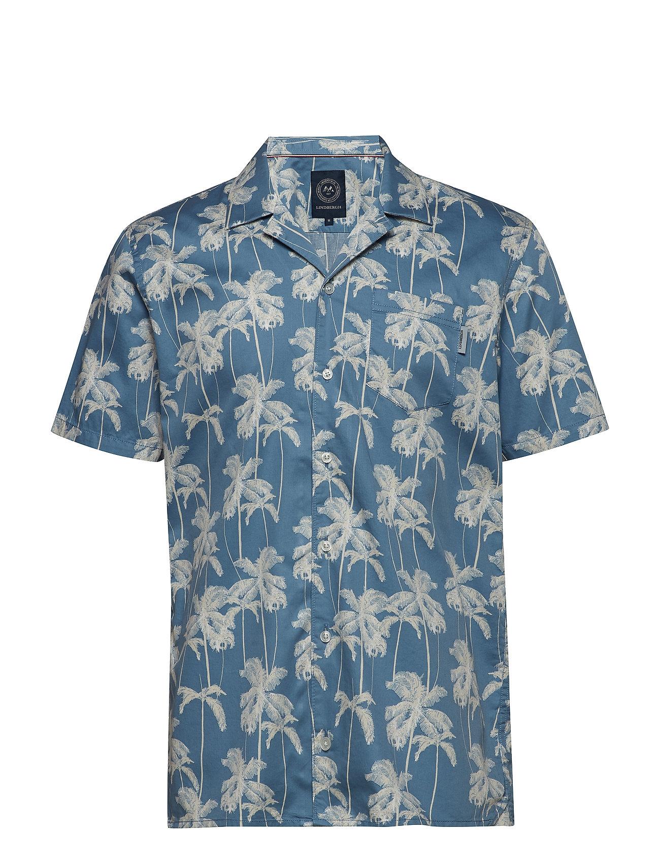 Lindbergh Hawaiian printed S/S shirt - LIGHT BLUE