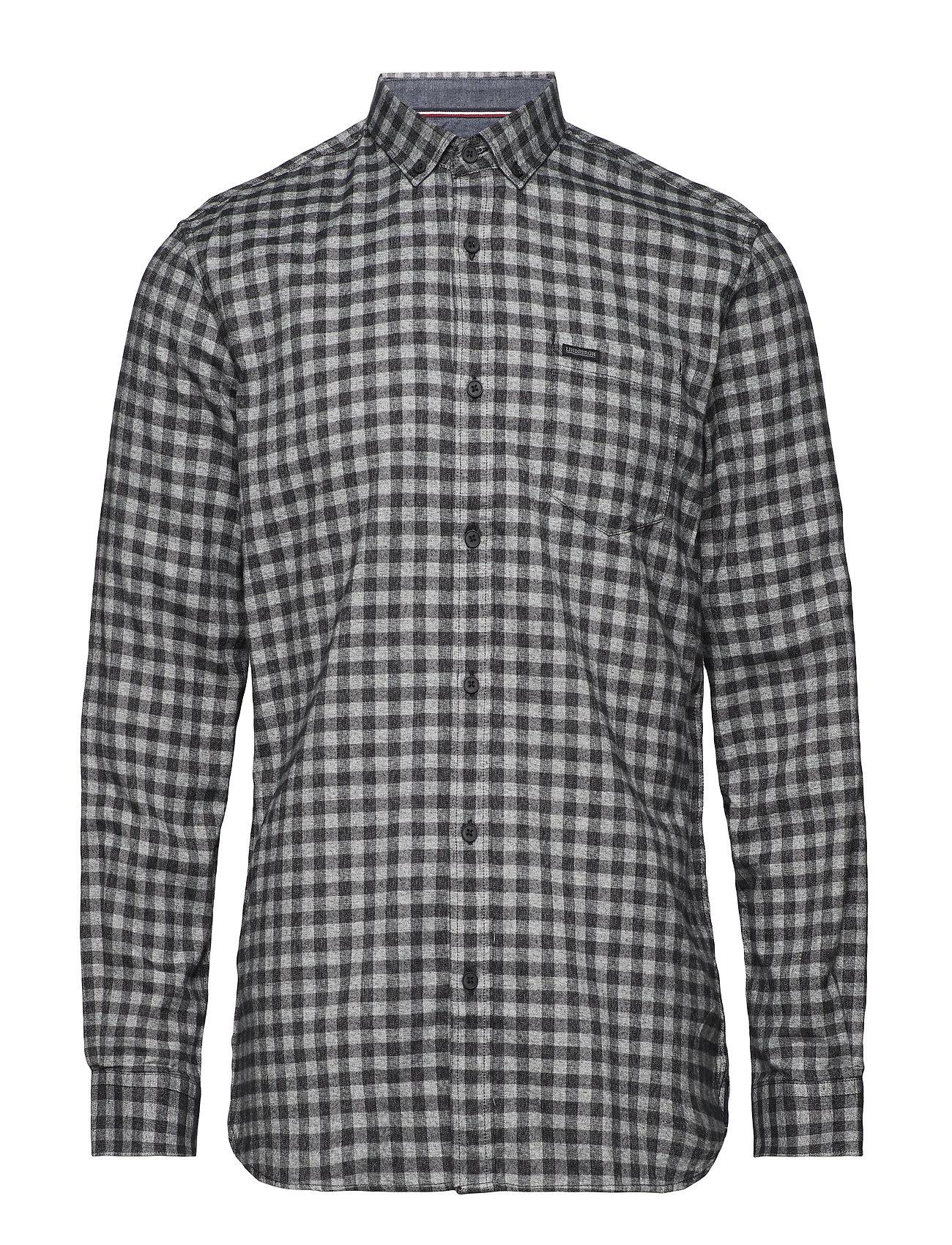 Lindbergh Mélange gingham L/S shirt - BLACK