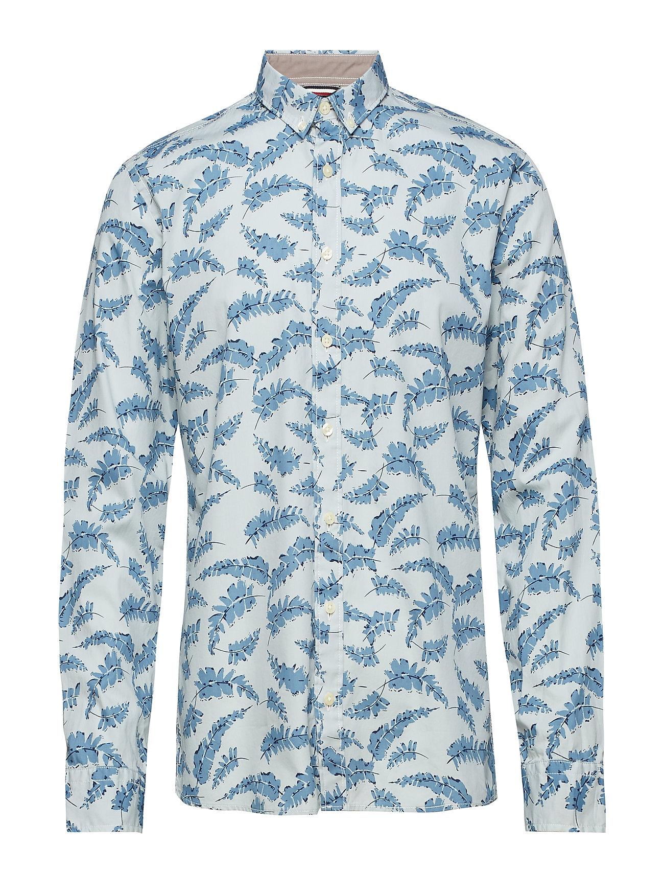 Lindbergh AOP shirt L/S - LIGHT BLUE