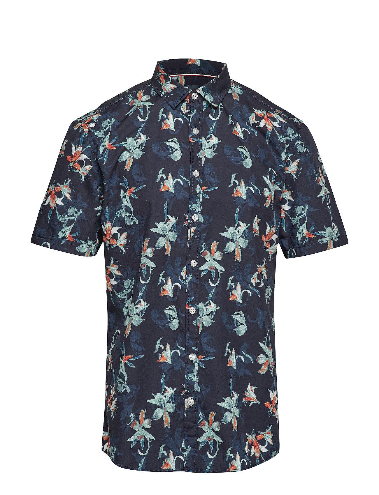 Lindbergh Holiday printed shirt S/S - DARK BLUE