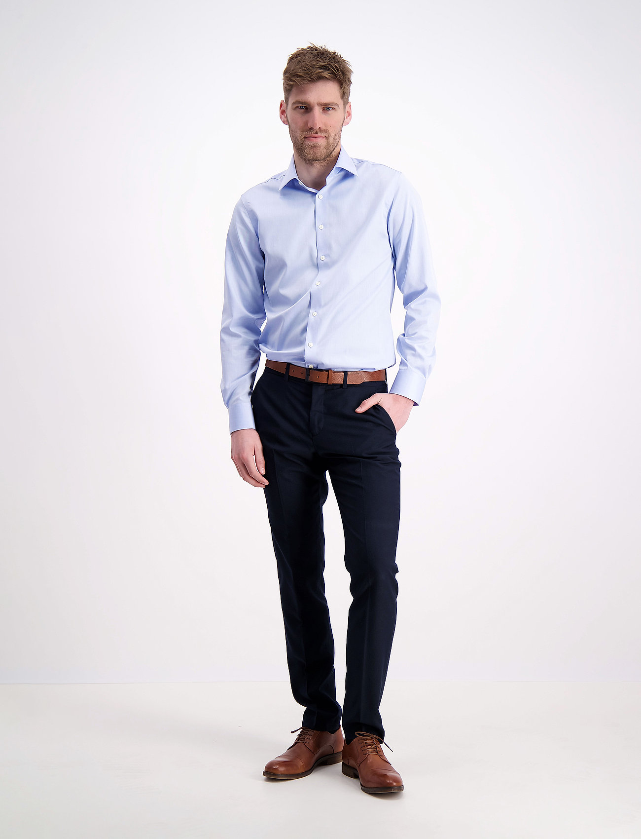 Lindbergh - Plain fine twill shirt, WF - podstawowe koszulki - lt blue - 0