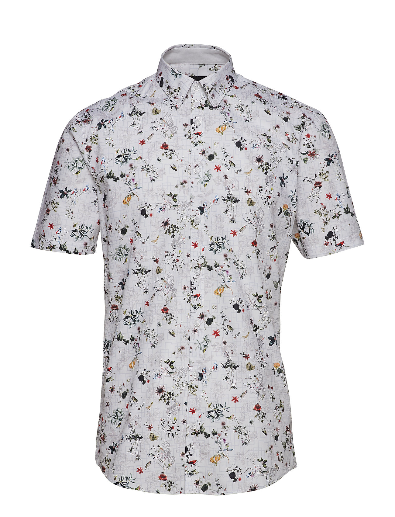 Lindbergh Floral cotton shirt S/S - WHITE