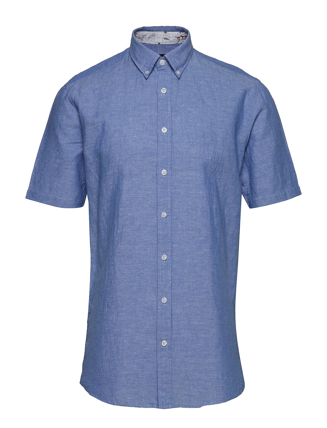 Lindbergh Solid cotton/linen shirt S/S - LIGHT BLUE