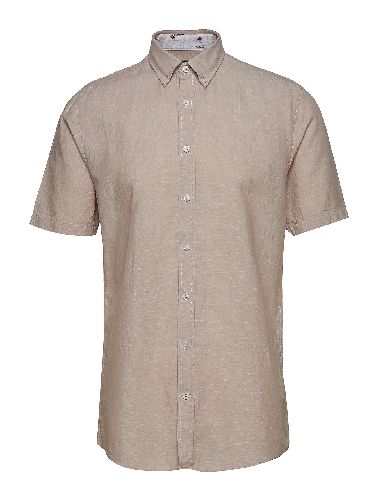 Lindbergh Solid cotton/linen shirt S/S - LIGHT SAND