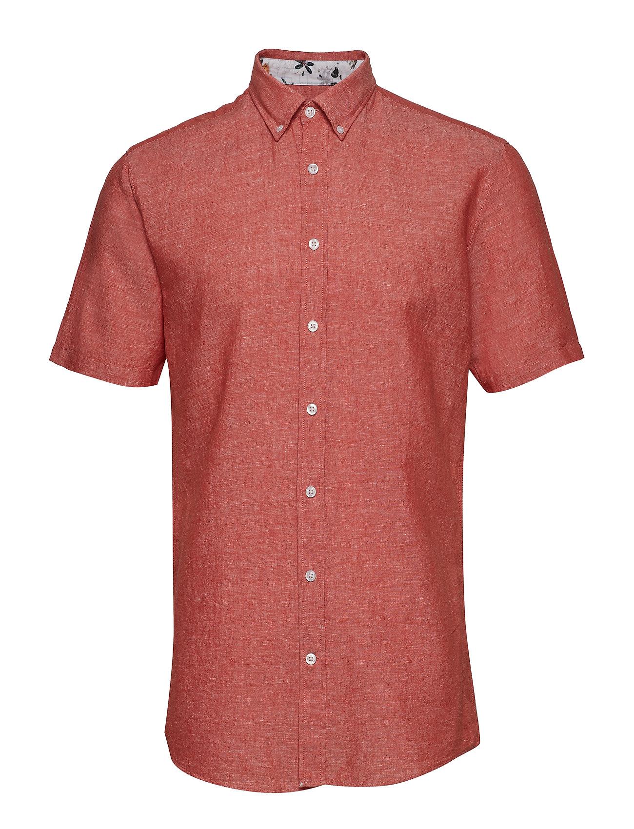 Lindbergh Solid cotton/linen shirt S/S - ORANGE