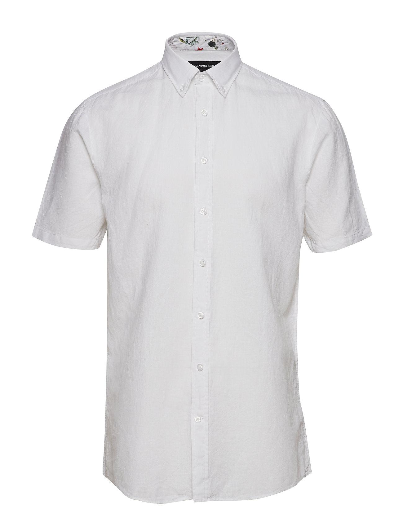Lindbergh Solid cotton/linen shirt S/S - WHITE