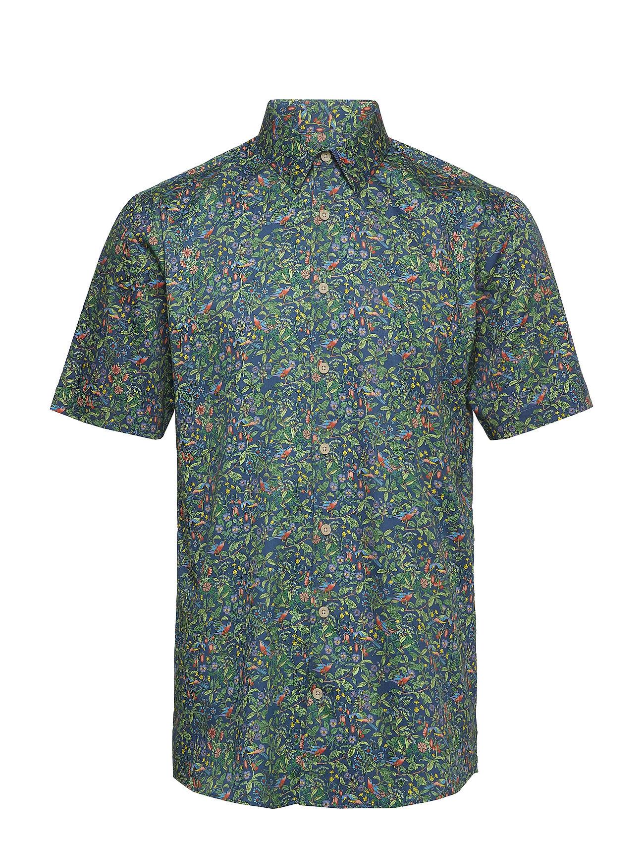 Lindbergh AOP shirt w. resort collar S/S - BLUE