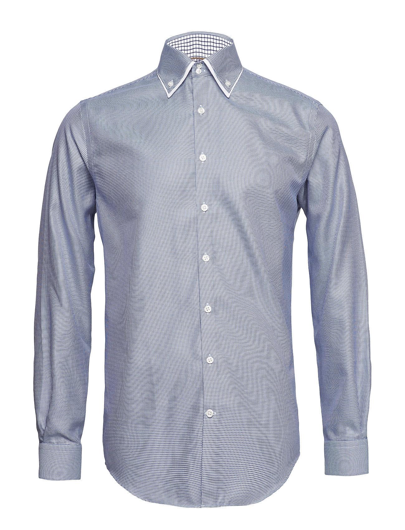 Lindbergh Double collar shirt L/S - BLUE