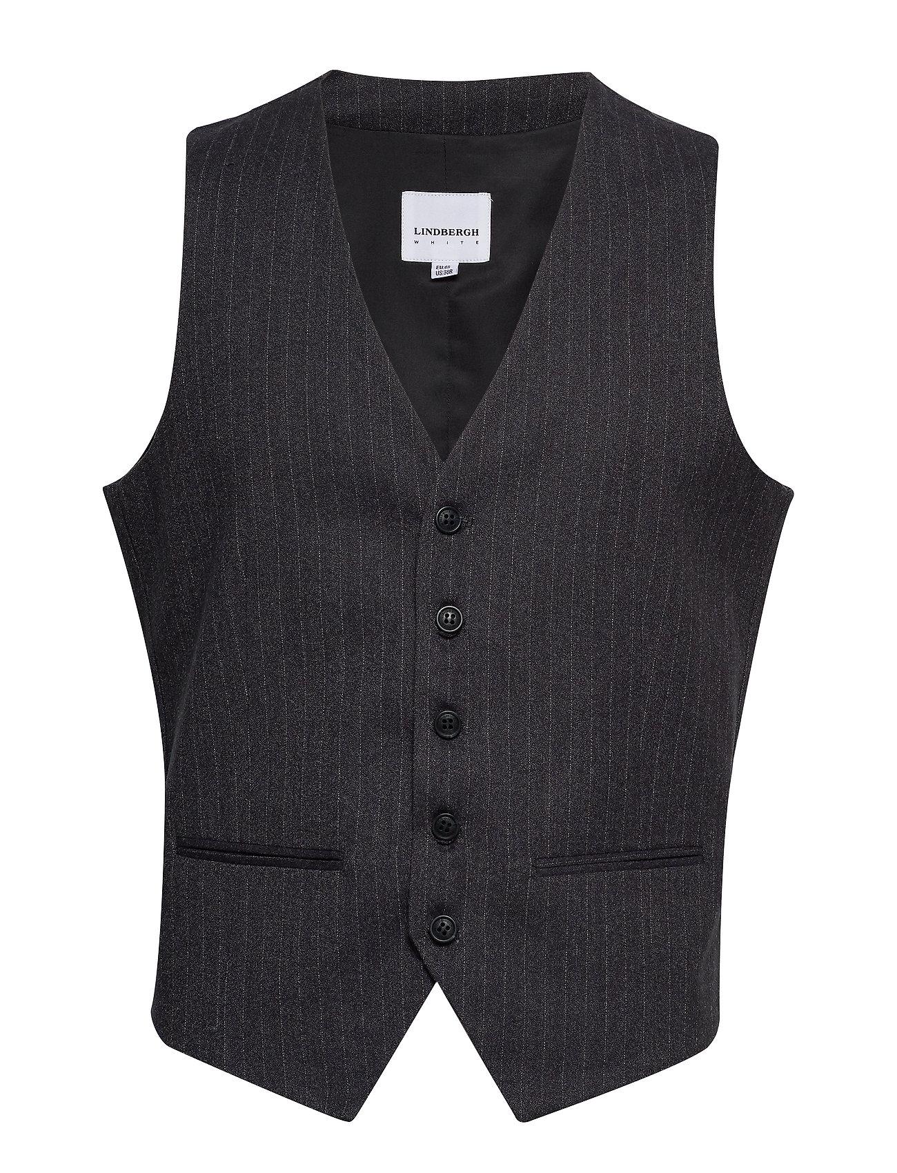 Lindbergh Pin striped waistcoat - DK GREY MEL