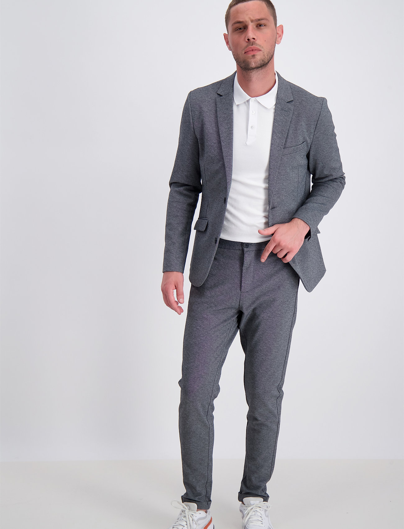 Lindbergh - Superflex knitted blazer - blazers à boutonnage simple - grey mix - 0