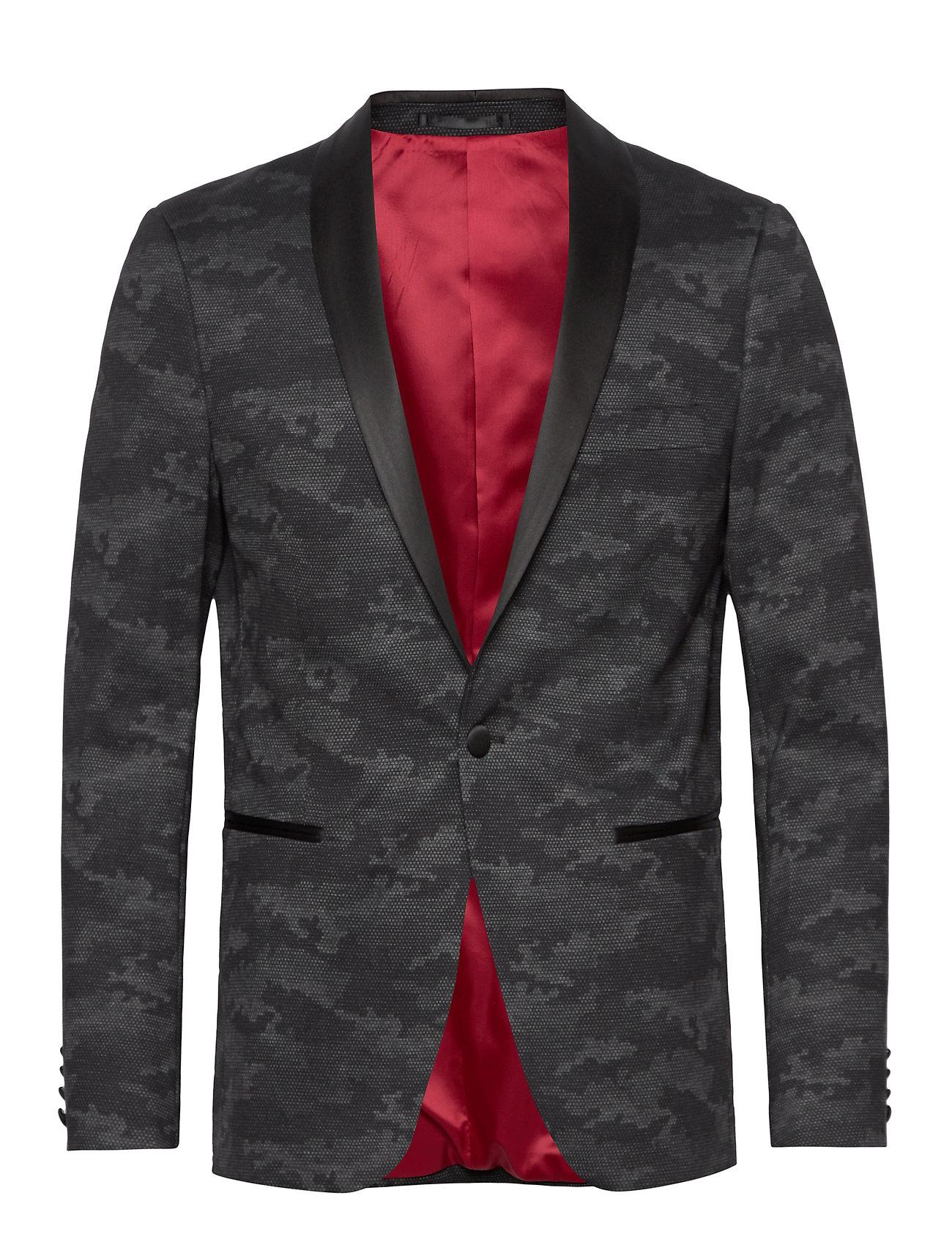 Lindbergh Knitted camo tuxedo blazer - BLACK