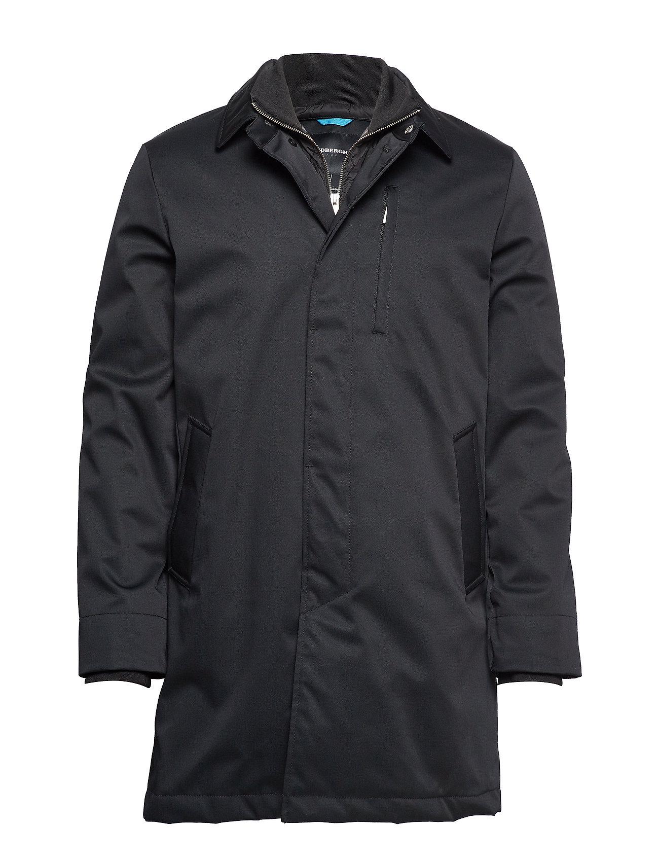 Lindbergh Twill coat w detachable collar - BLACK