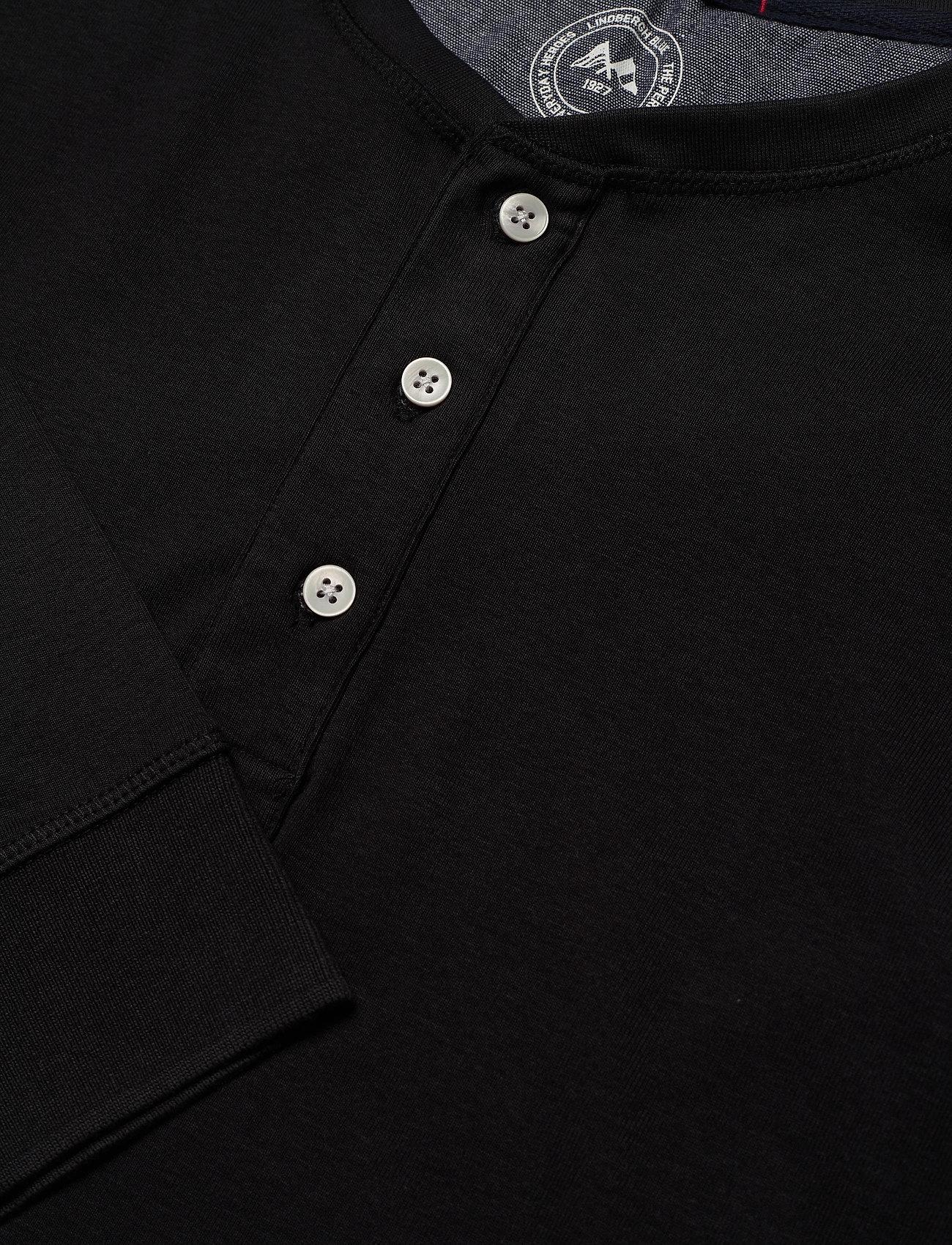 Lindbergh Ribbed granddad L/S - T-skjorter BLACK - Menn Klær