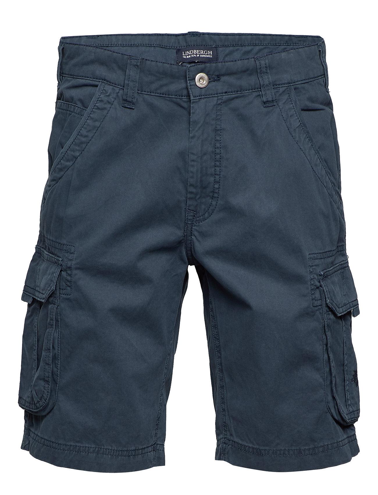 Lindbergh Garment dyed cargo shorts - DK BLUE