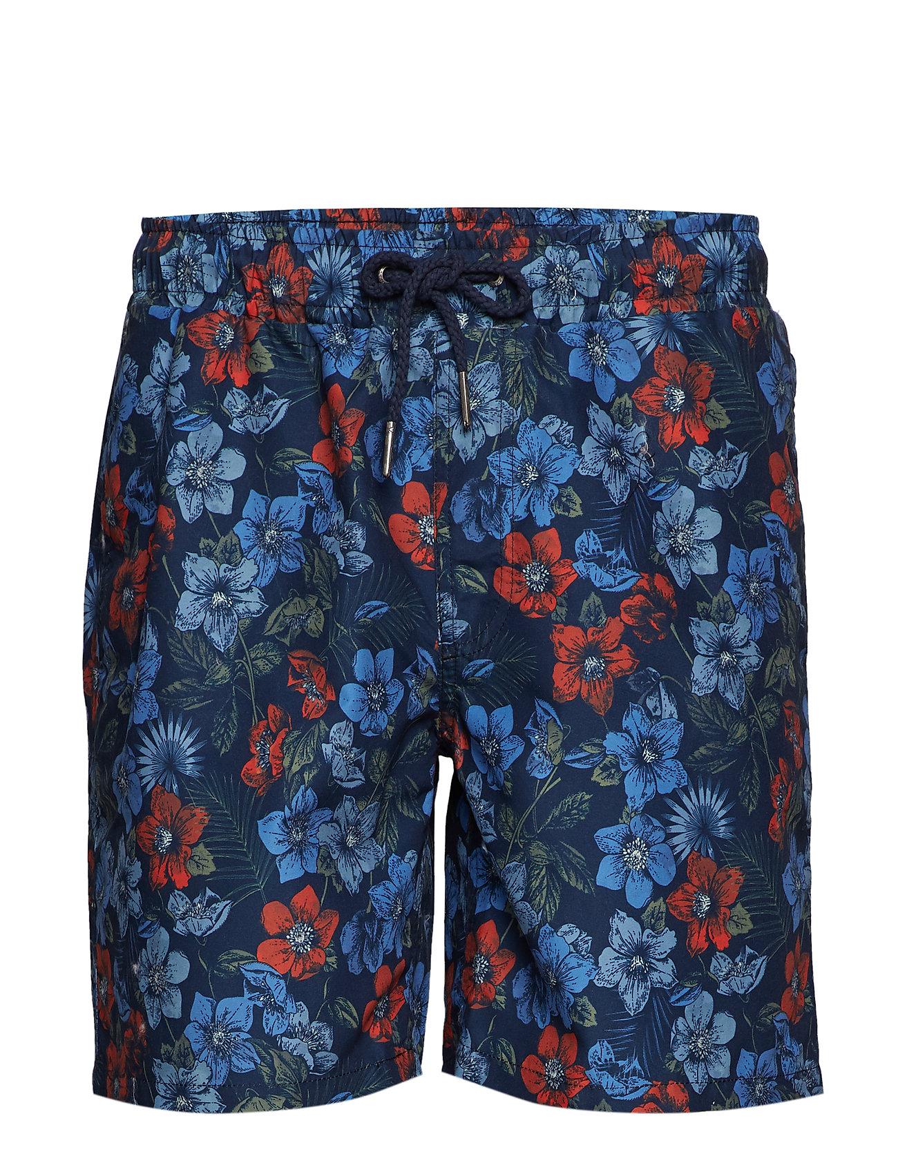 Lindbergh Printed swim shorts - DK BLUE