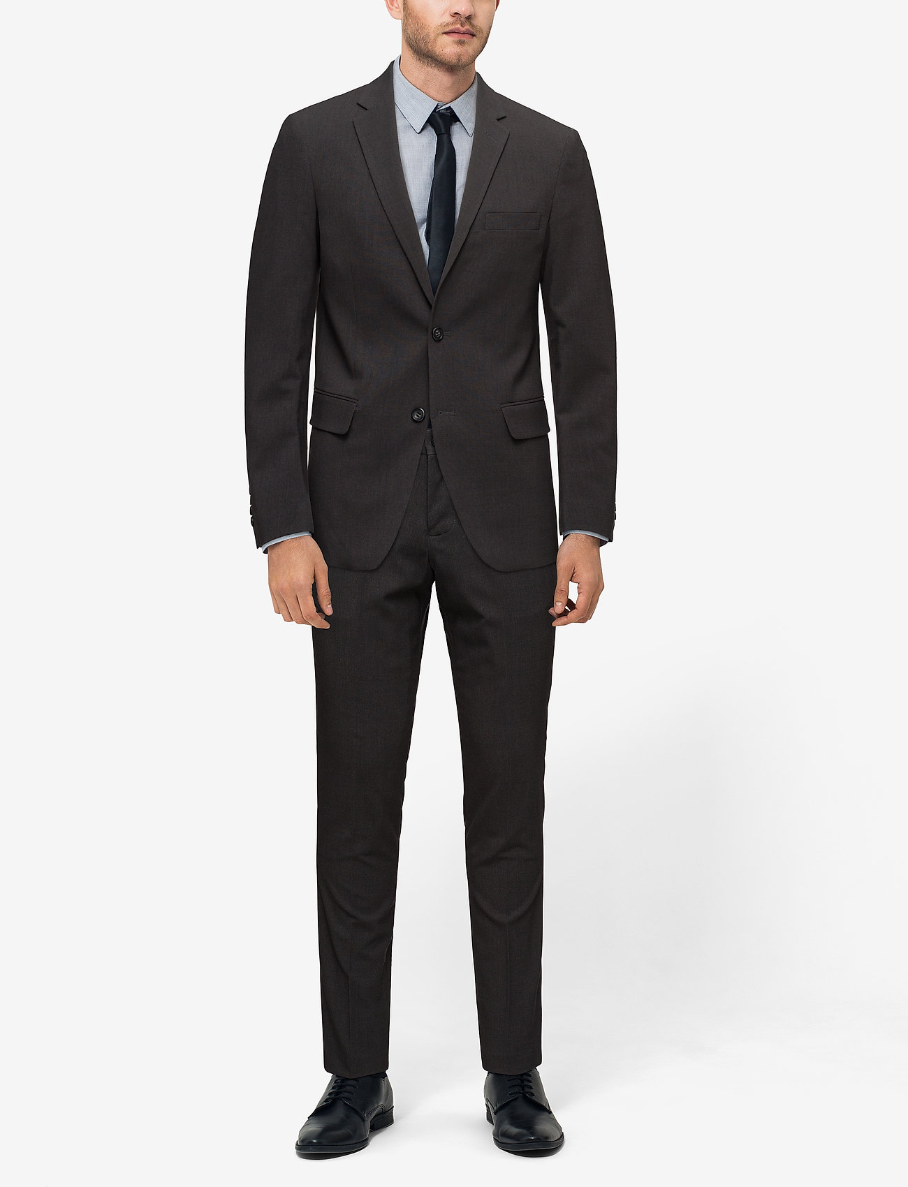 Lindbergh Plain mens suit - DK GREY MEL