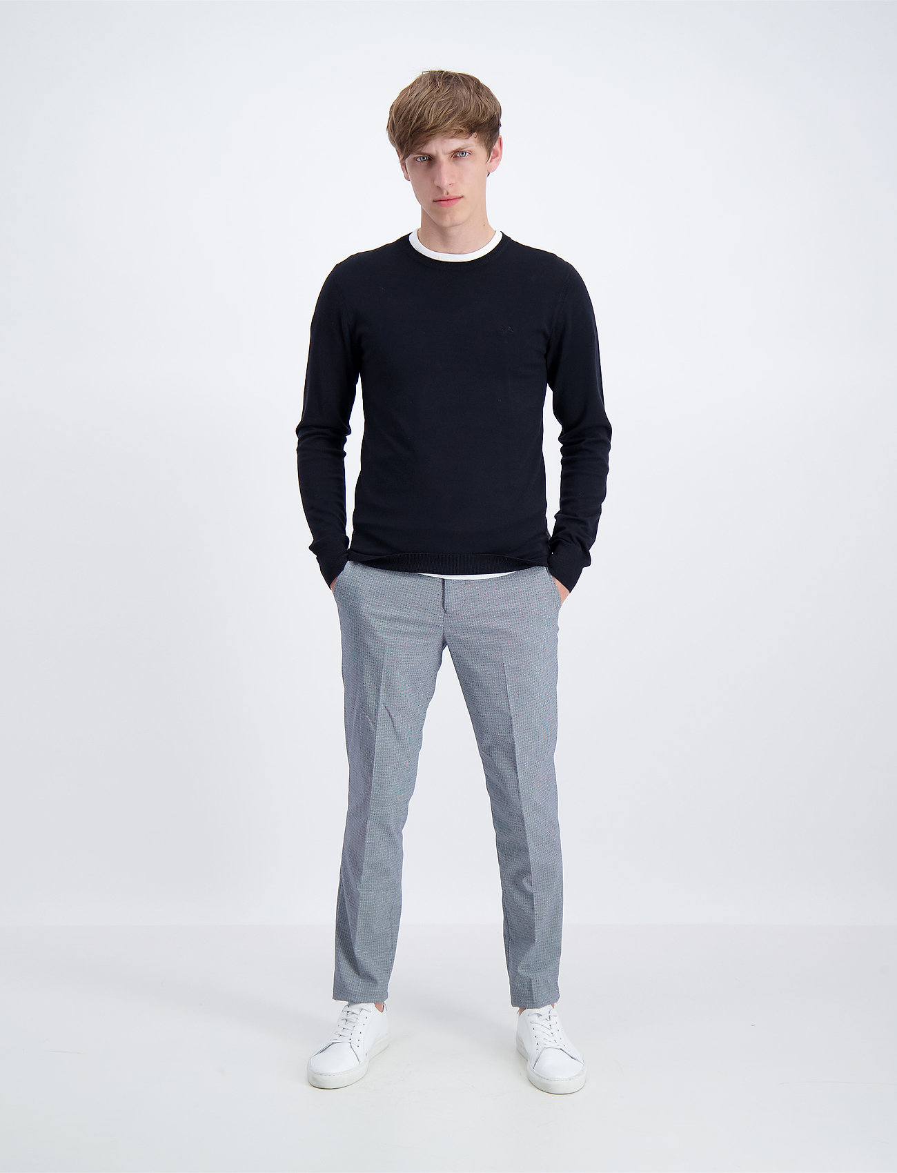 Lindbergh - Mélange round neck knit - perusneuleet - black - 0