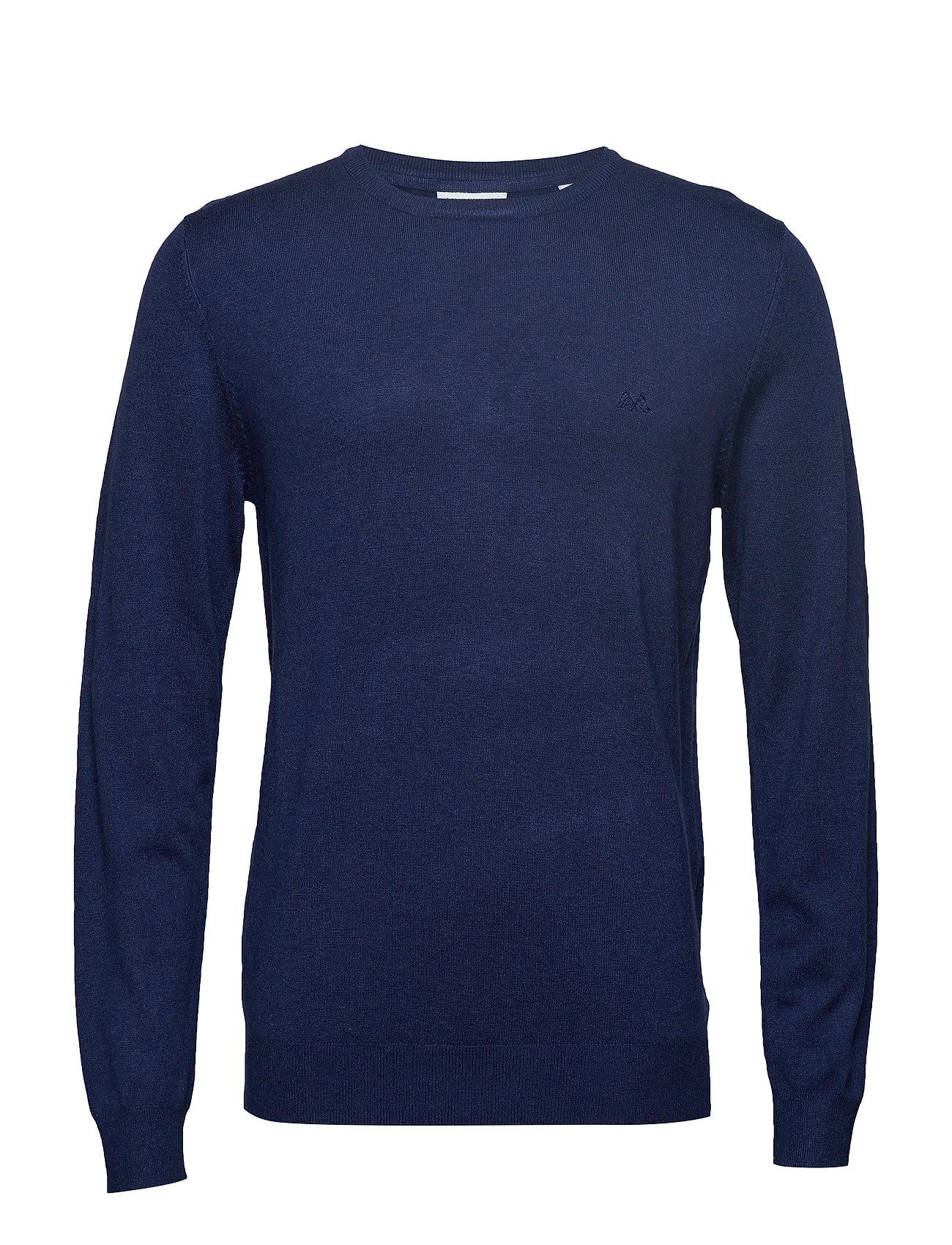Lindbergh Mélange round neck knit - DK BLUE MEL