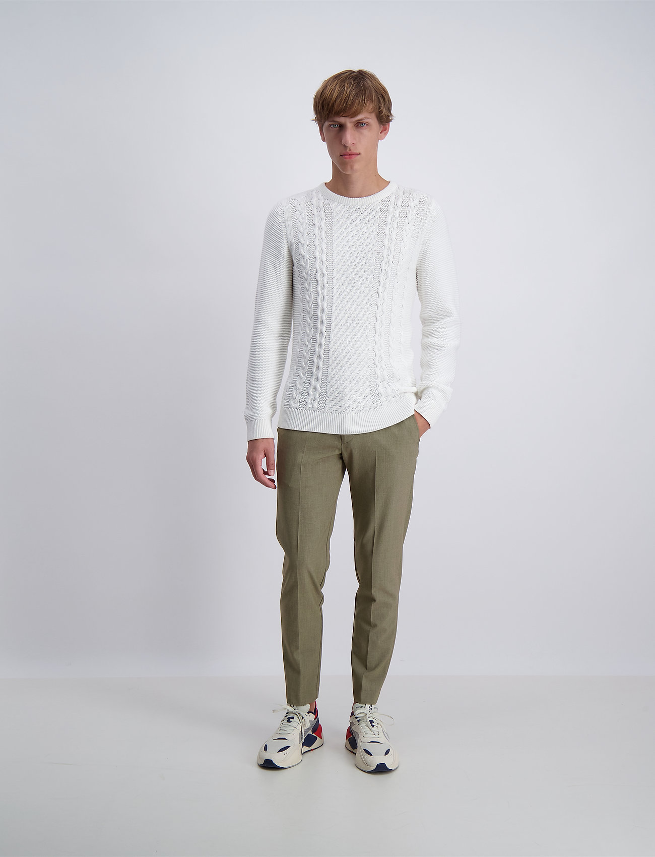 Lindbergh - Cable knit - pulls col rond - off white - 0