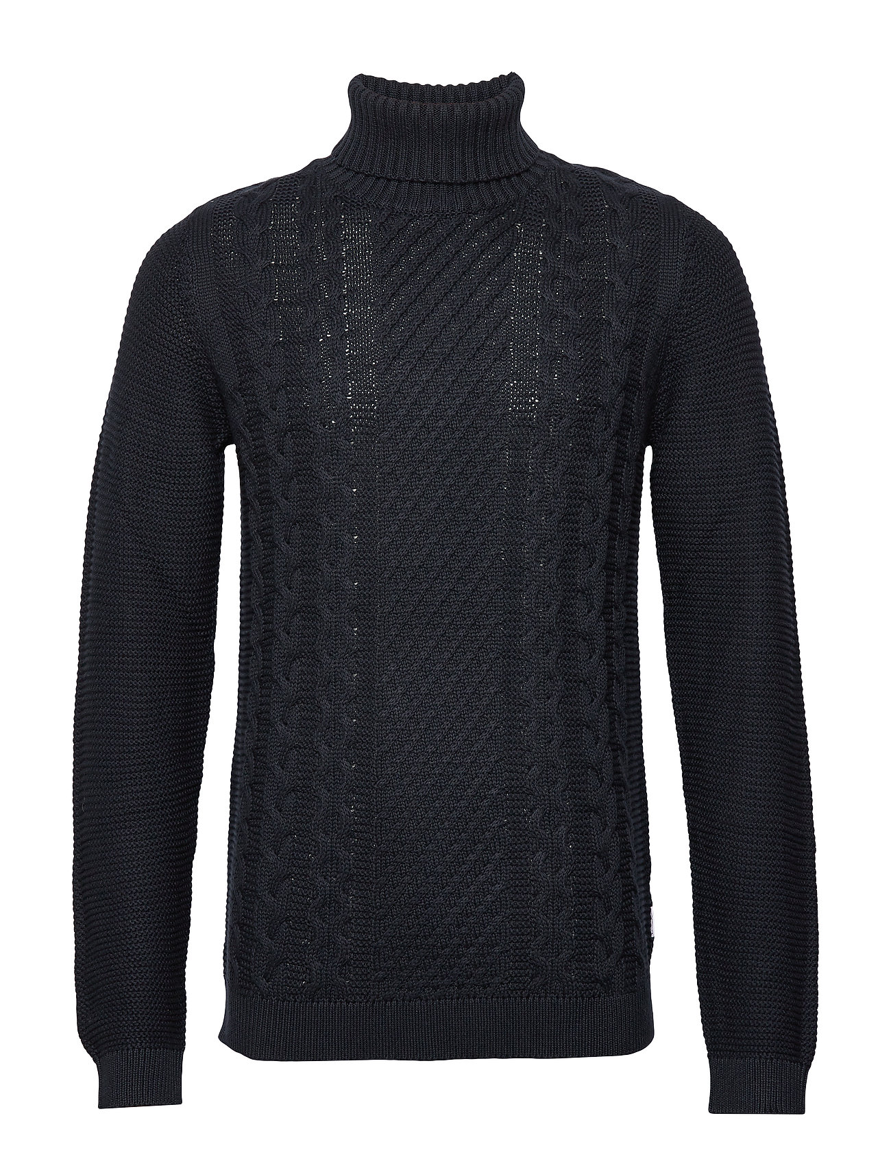 Lindbergh Cable knit w. roll neck - NAVY