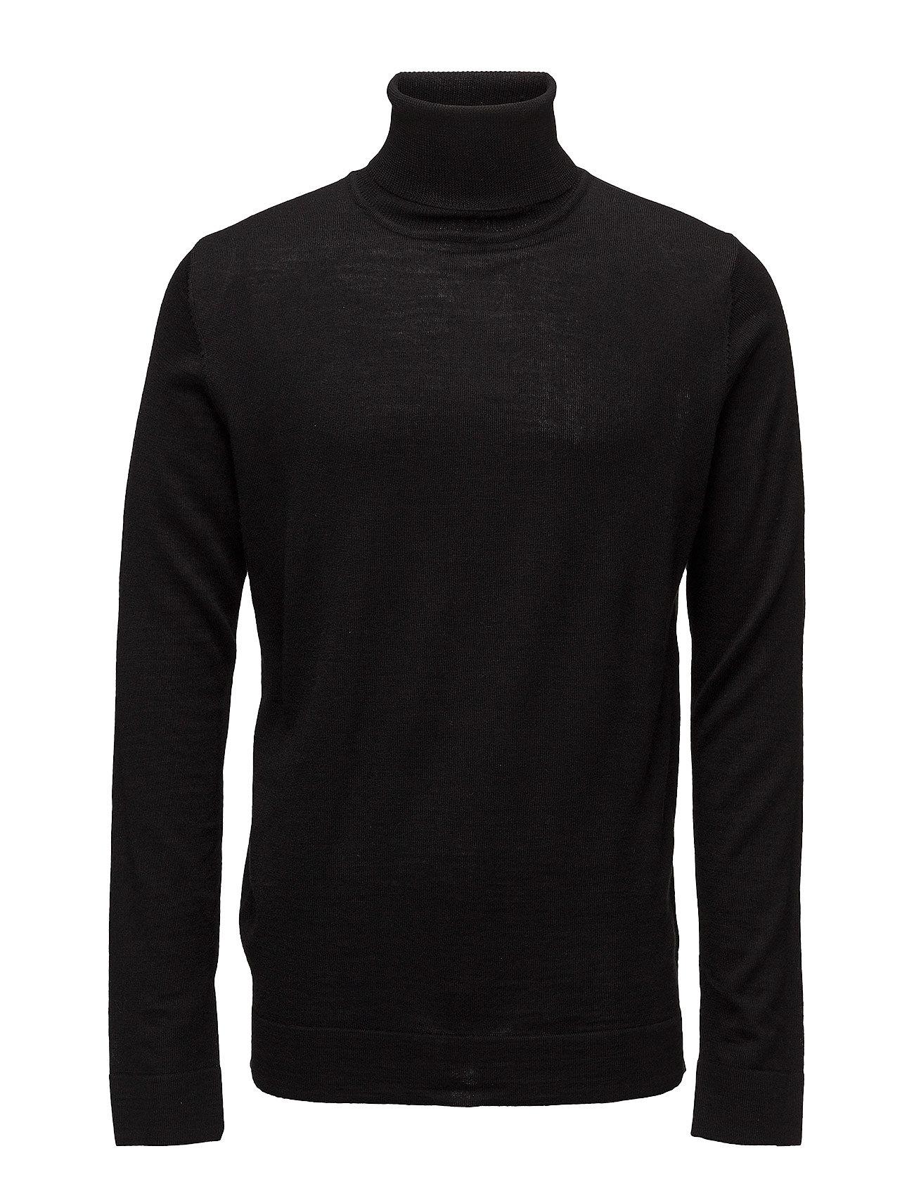 Lindbergh Merino knit roll-neck - BLACK