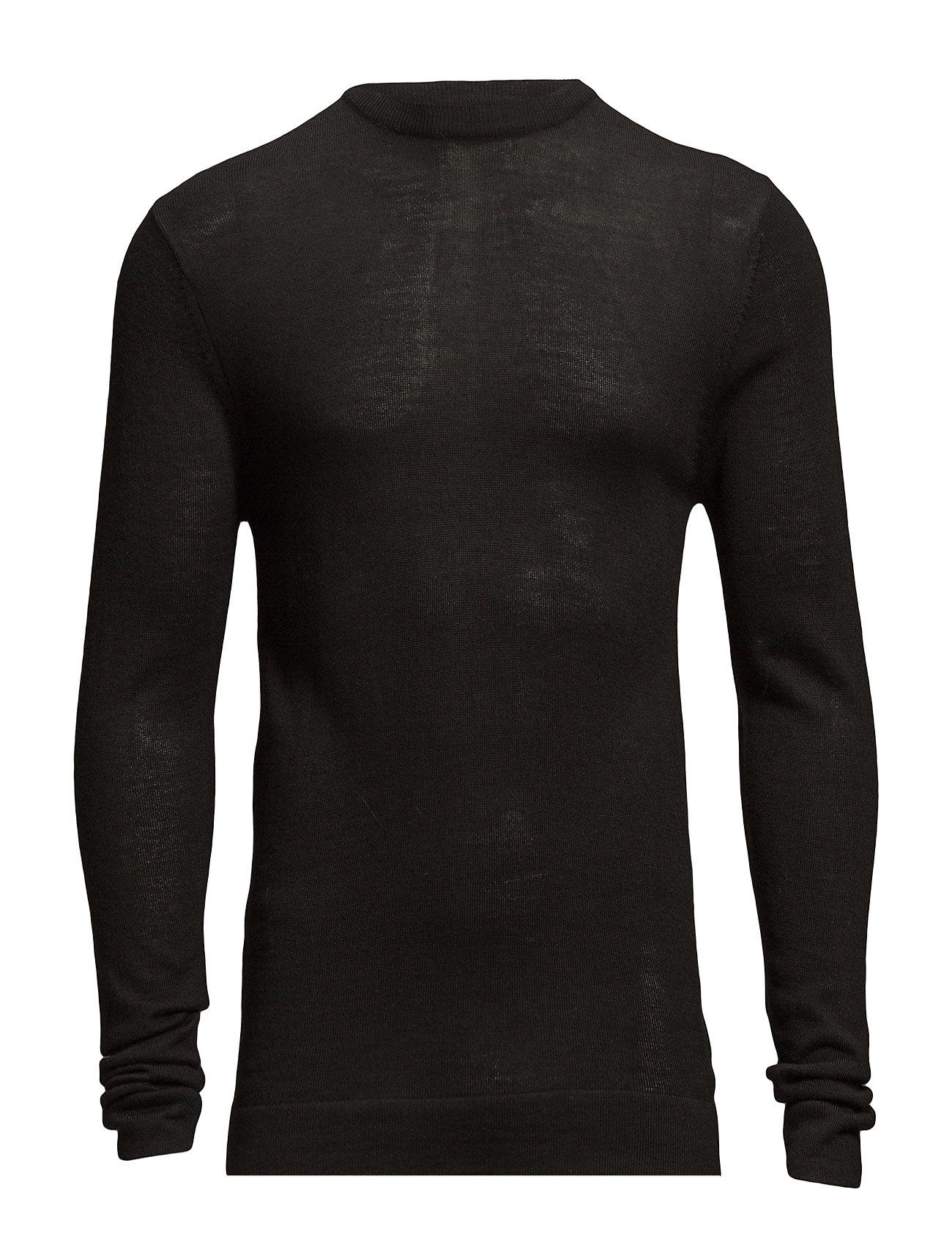 Lindbergh Merino knit o-neck - BLACK