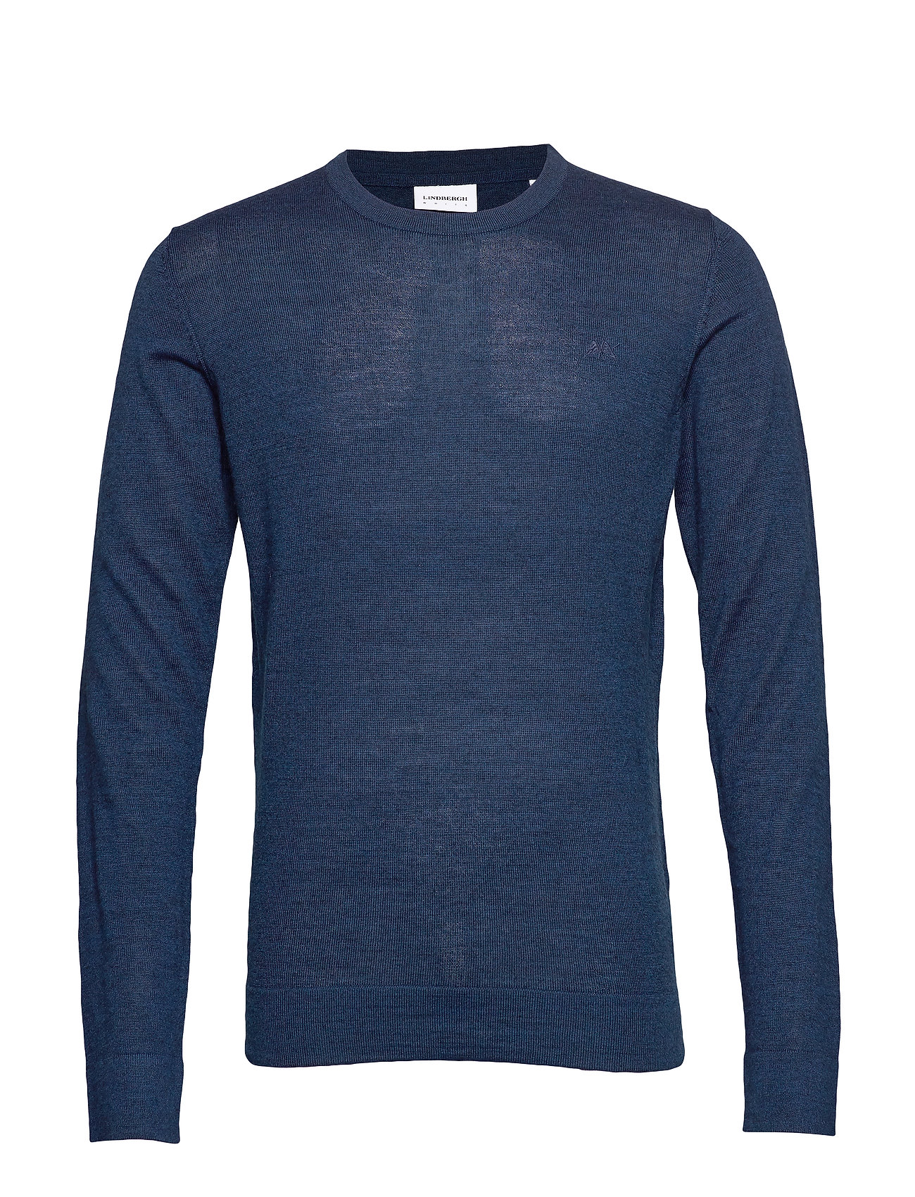Lindbergh Merino knit o-neck - DEEP BLUE MIX