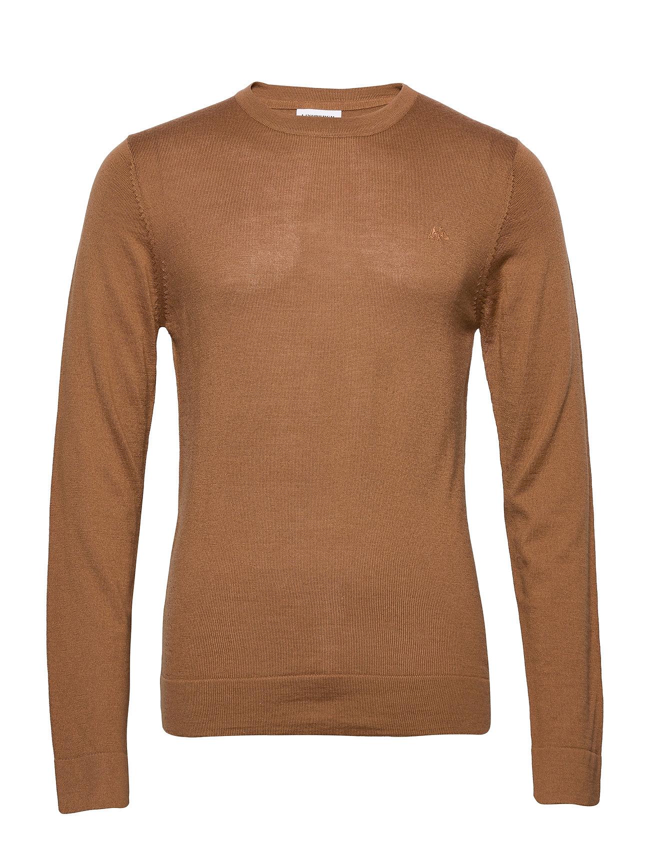 Lindbergh Merino knit o-neck - DK CAMEL