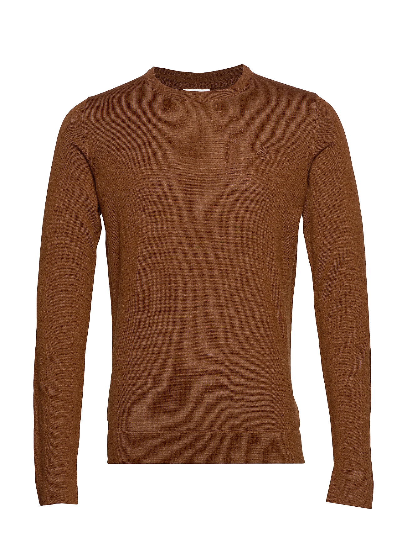 Lindbergh Merino knit o-neck - LT BROWN