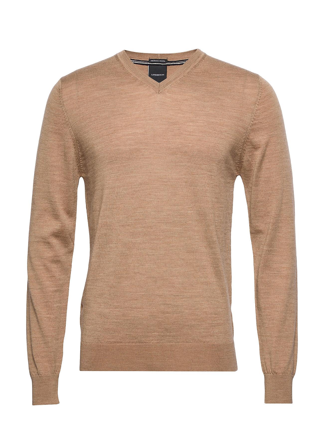 Lindbergh 100 % merino v-neck knit - LT CAMEL MEL