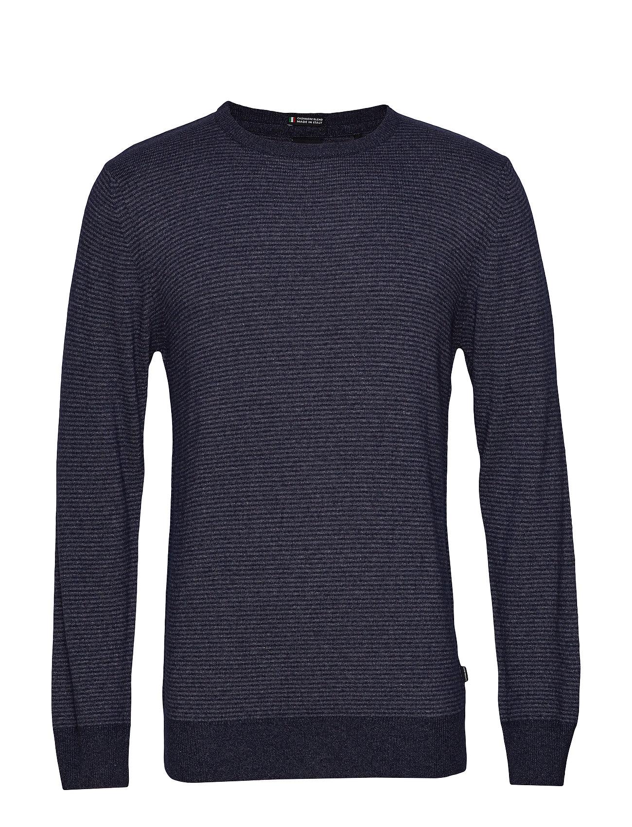 Lindbergh Striped cashmere o-neck knit - BLUE
