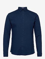 Lindbergh - Mouliné stretch shirt L/S - peruspaitoja - navy - 0
